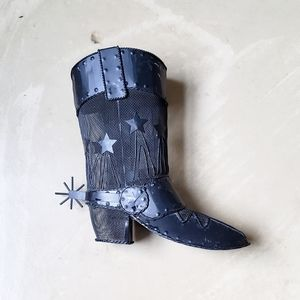 Black Metal Cowboy Boot Candle Holder